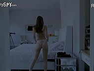 Lovely masturbates in big bed but she doesn't know employer watches her through hidden camera 10