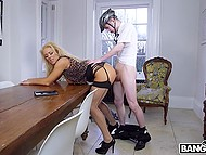 Lecherous cougar with blonde hair makes young cyclist satisfy her carnal urges with his hard cock 11