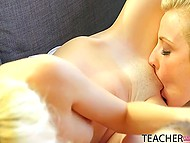 Damsels with blonde hair came to dirty-minded teacher to earn high marks with their pussies 9