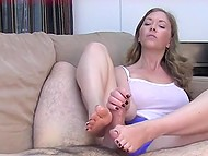 Youngster jerks off cock when hot stepmom catches him and treats fat dick with hands and feet