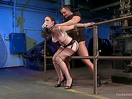 Torrid female Natalie Minx with long legs had never been penetrated so roughly before 5