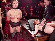 Guys threw an excellent BDSM-party where everyone could fuck tied up girls in stockings 5