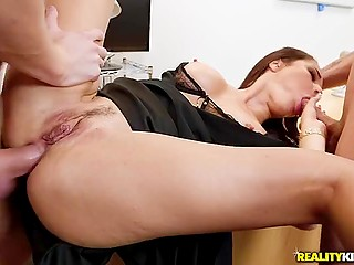 Hot office lady with big round tits has MMF anal threeway sex at the workplace