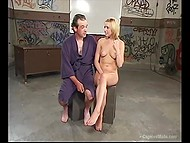 Young blonde lady bounds, dominates and assfucks with strapon her male slave  11