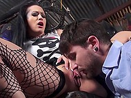 Doll with wonderful hair likes grabbing boys by the balls and this mechanic becomes one of her sex toys 3