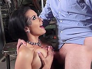 Doll with wonderful hair likes grabbing boys by the balls and this mechanic becomes one of her sex toys 6