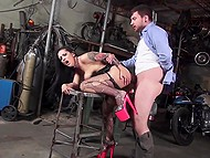 Doll with wonderful hair likes grabbing boys by the balls and this mechanic becomes one of her sex toys 9