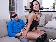 Sexy whore with bleakest black hair arranger a real porn show for concupiscent client 3