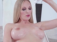 Well-groomed temptress lubes strong boobs and rosy hole before masturbating session 6