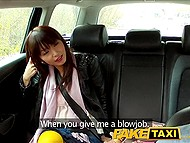 Tricky taxi driver brings Japanese passenger in deserted place where asked her to suck cock 3