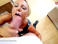 German temptress in latex suit hospitably meets neighbor offering butthole for penetration 11