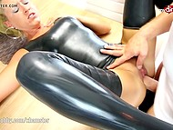 German temptress in latex suit hospitably meets neighbor offering butthole for penetration