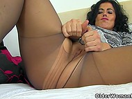 Naughty Spanish dame supposes that her rosy vagina and buttocks in pantyhose deserve attention 7