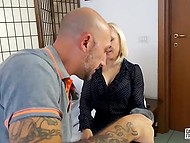 Italian blonde in stockings just sees the camera and immediately reached his fuckstick 3