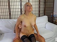 Italian blonde in stockings just sees the camera and immediately reached his fuckstick 9