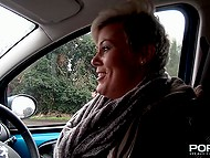 Shameless mature from Britain drives the car through city and shows nudes to random guys 10