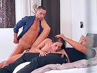 Brunette lady drinks some champagne with two luxurious men and gets fucked hard by them