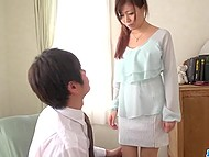 Gallant man in classic suit fucks shy-looking Japanese female under the pretense of shaving pussy 5