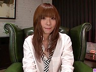 Skinny Japanese girl fingers hairy pussy in leather armchair and sucks off small penises 5