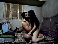 Teen Indian couple has laptop and camera in their cheap house for recording some dirty games 6