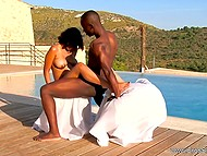 Bald Ebony guy passionately drills attractive mistress in most tender sex positions 5
