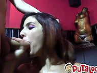 Males put helpless babe on her knees and started shoving cocks into mouth covering face with sperm 5