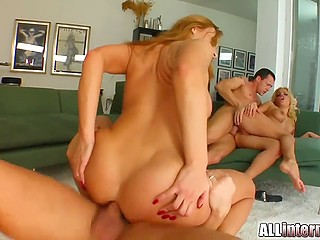 Raunchy bitches do enema to each other because hardcore group fucking is about to start