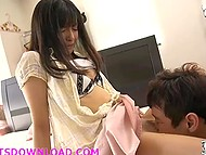 Teenage Japanese girl sucks new boyfriend's dick and doesn't know busty stepmom is spying on them