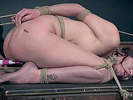 Tied up brunette goes through proper examination of her trimmed cunny by mysterious master 9