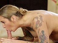 Love with tattooed body fucked by client in shower and when gives him massage with benefits 6