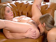 Mature woman satisfies charming young lesbian by cunnilingus and asslicking