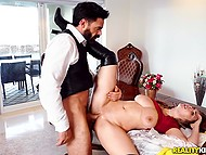 Bearded man shoves fingers into Lena Paul's pussy after fucks and creampies her 8