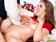 Bearded man shoves fingers into Lena Paul's pussy after fucks and creampies her 9