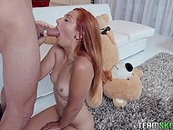 Small-tittied girl rides strapon but boyfriend comes and satisfies burning pussy