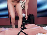 Masseuse Phoenix Marie gives pleasure to Latina babe Luna Star using strapon, not hands 10