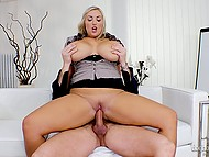Boss prefers to fuck BBWs and he specially hires seductive blonde Krystal Swift