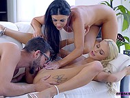 Experienced MILF India Summer gives light-haired stepdaughter threesome sex lesson 10