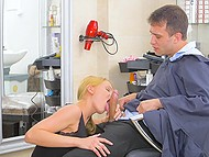 Lascivious hairdresser touches client's cock under cape and gives him sex bonus 4