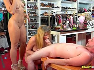Cool chicks and guy take advantage of empty clothes shop and try threesome 6