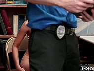 Police officer forces cute Asian thief to take off all clothes and show her skinny body 9