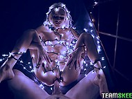 Guy penetrates attractive blonde Emma Hix who wrapped lights around her naked body 5