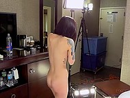 Two cameras film small-tittied girl who sucks cock and obtains cum on face at porn casting 10