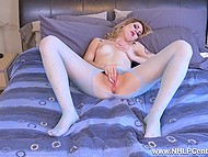 Turned on blonde tears her pantyhose with rhinestones going to tickle warm pussy 11