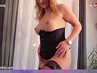 Imperious brunette forces experienced blonde to undress and lick her sweet vagina 4