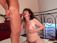 Mature woman with extremely hairy vagina always impatiently waits for young fucker 5
