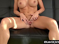 Classy blonde with round boobs wanted to be fucked by black partner at audition 4