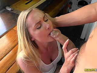 Money is the reason why winning blonde licks donut off man's cock then gives him blowjob