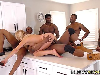 Winning black men playfully undressed Erica Lauren and penetrated her holes in kitchen