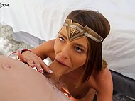 Adriana Chechik dresses as warrior girl on Halloween and goes to give deepthroat blowjob for candies