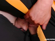 Young buddy manages to fuck new stepmother Marie Mccray through hole in her leggings 9